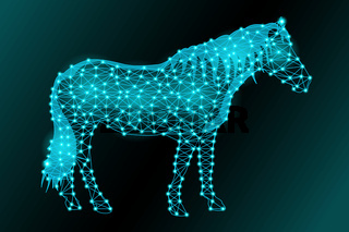 Silhouette of a horse from a triangular mesh and glowing dots