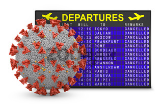 Coronavirus and departure board