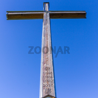 Details of Summit Cross of Rauheck, 1590 m in Bavarian Prealps, located near Ohlstadt, Upper Bavaria, Germany. Europe