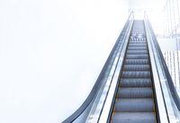 modern escalator view from below.
