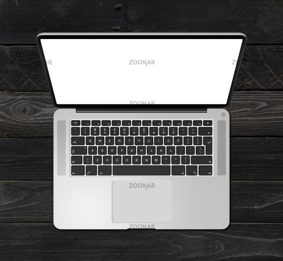 Open laptop top view with blank screen, isolated on black wood background. 3D render