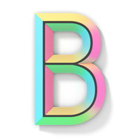 Neon color bright font Letter B 3D