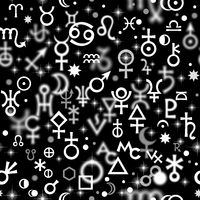 Astrological hieroglyphic signs, Mystic kabbalistic symbols. Chaotic seamless pattern.