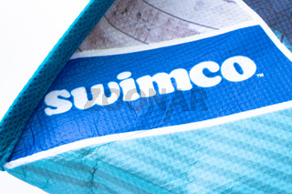 Calgary, Alberta, Canada. Oct 20, 2020. A close up to a Swimwear logo on a retailer bag. Concept: bankrupt business