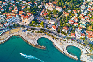 Opatija. Slatina beach in Opatija aerial panoramic view