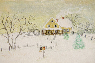 Winter painting of house with mailbox, digitally altered