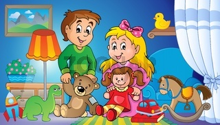 Children with toys theme image 2 - picture illustration.