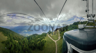 With the cable car up the mountain