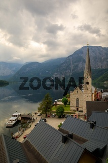 famous Hallstatt mountain village in the Austrian Alps in summer