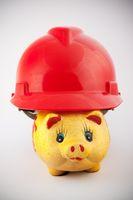 Piggy bank in helmet