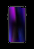 All screen smartphone mockup isolated on black. 3D render