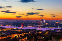 Evening Bosphorus Bridge, view from the Camlica Hill, Istanbul, Turkey
