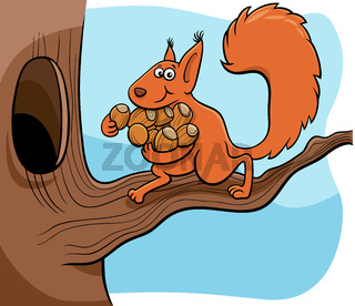 cartoon squirrel carrying acotns to the hollow