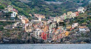 Village of Riomaggiore with colourful houses
