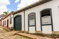 Facade of old houses in colonial architecture in Tiradentes city