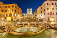 The famous Spanish Steps in Rome at night