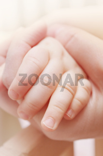Hands of the baby and his mother