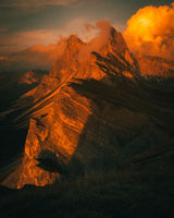 Seceda Mountain during Sunset in the Dolomites in Autumn