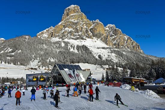 Ski resport Corvara, Kurfar, peak Sassongher behind, Alta Badia, Dolomites, South Tyrol, Italy