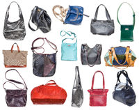 set of various handcrafted women's bags isolated