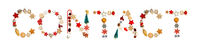 Colorful Christmas Decoration Letter Building Word Contact