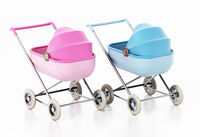 Pink and blue retro baby strollers isolated on white background. 3D illustration