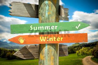 Street Sign to Summer versus Winter