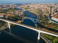 Aerial of bridges and Douro river in Porto