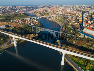 Aerial of bridges and Douro river in Porto