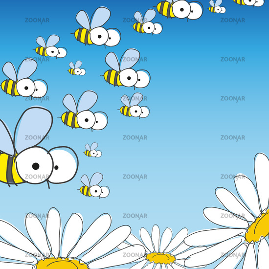 Bee And Daisy. Spring Background.