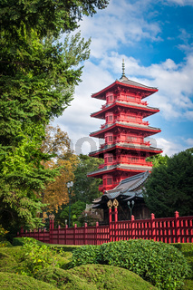 Chinese red tower at park in Brussels, Belgium