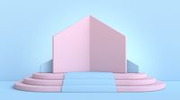 Mock up podium for product presentation house silhouette 3D