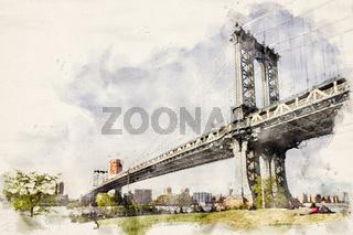 Watercolor Manhattan Bridge NYC