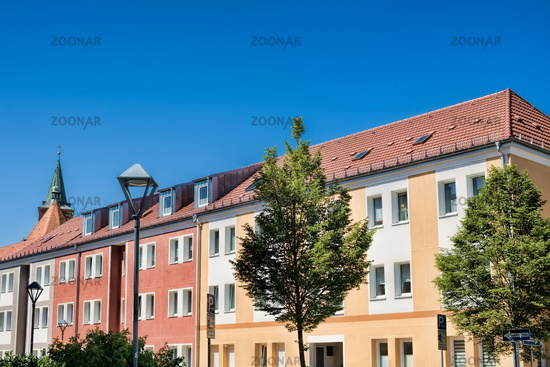 Bernau near Berlin, Germany - April 30, 2019 - renovated row of houses