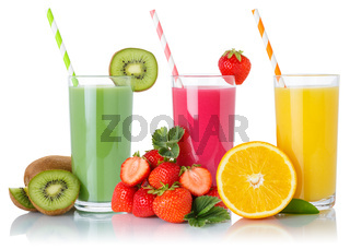 Fruit smoothies fruits orange juice green smoothie collection drink in glass isolated on white
