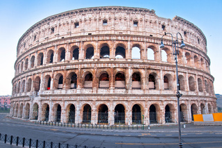 Rome. Colosseum of Rome empty street view