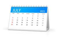 table calendar 2021 july