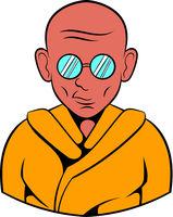 Indian monk in sunglasses icon, icon cartoon