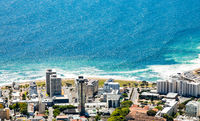 Elevated view of Green Point coastal suburb in Cape Town
