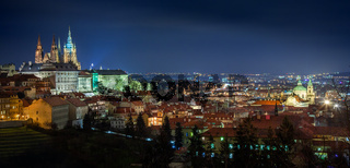 Beautiful panorama of night Prague