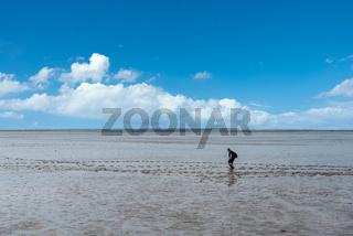 Wattenmeer mit Wattwanderern bei Bensersiel