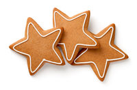 Three Gingerbread Stars Isolated On White Background