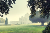 Humayun's tomb in the morning fog, New Delhi, India