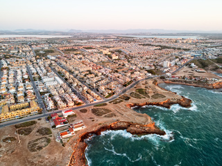 Aerial panoramic photo of Torrevieja cityscape. Spain