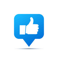 Bright blue trendy icon for social network. Thumb up piktogram on white