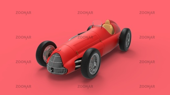 3D rendering of a classic vintage race car ports car model in red studio