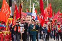 Anapa, Russia - May 9, 2019: Representatives of the Communist Party of Russia at a festive procession in honor of Victory Day on May 9, in Anapa