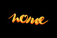 Inscription house written in bright fiery orange fire stroke on a black background. Overlay for your design