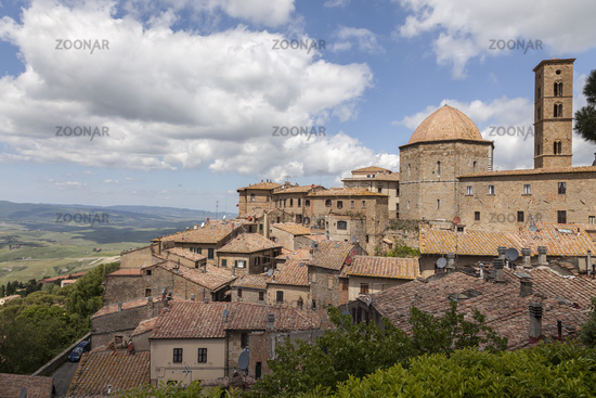 Volterra, Cathedral and tower, Tuscany, Italy