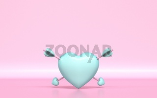 Pastel green heart with two Cupid's arrows 3D